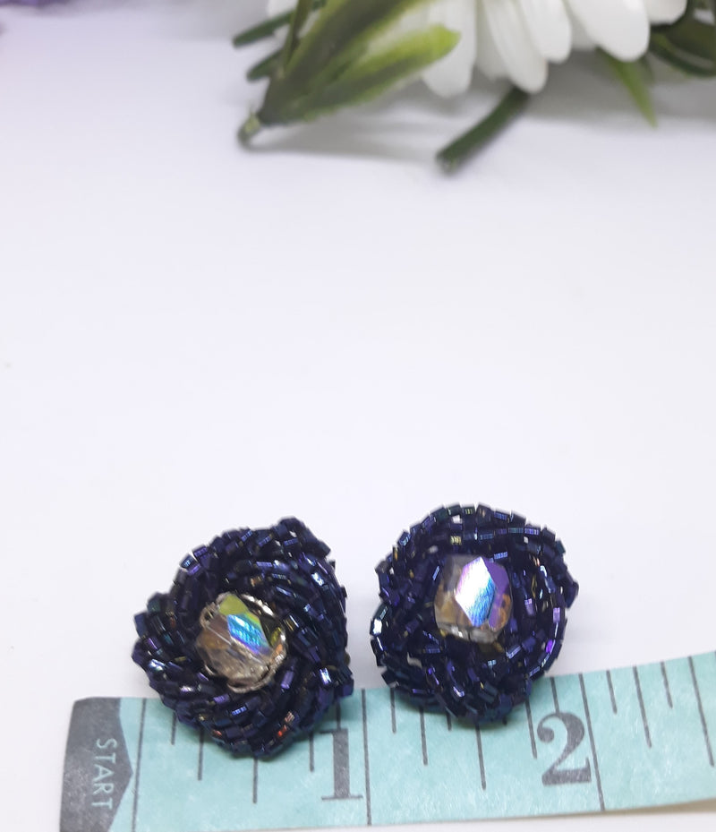 1950s Black Beaded Earrings with Center Aurora Borealis Beads, Made in Japan