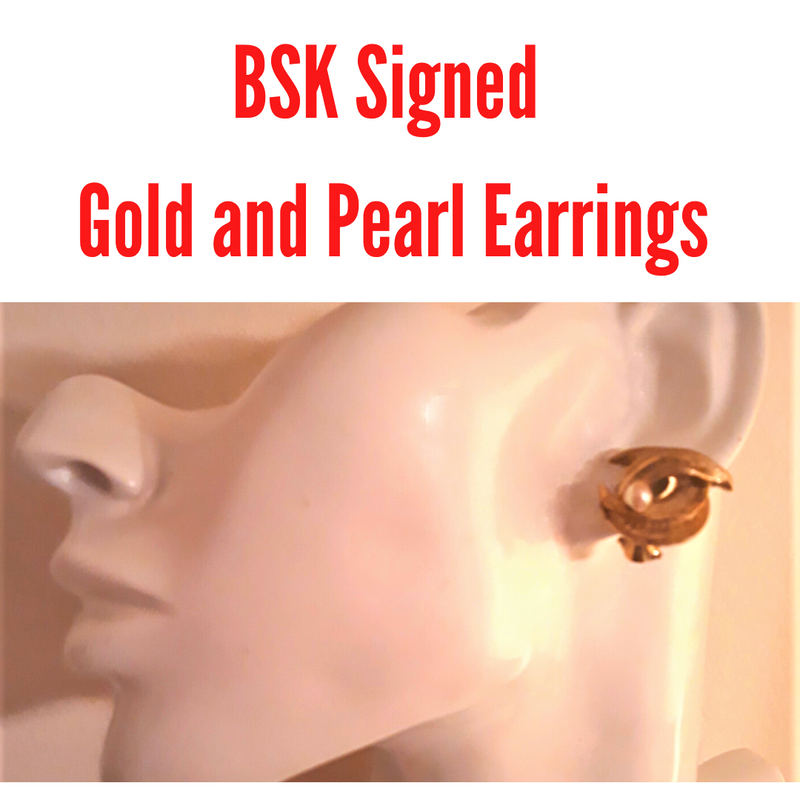 BSK Signed Gold Tone with Pearl, 1960s Clip-on Earrings