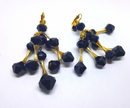 Mid Century Modern Black and Gold Dangle Earrings