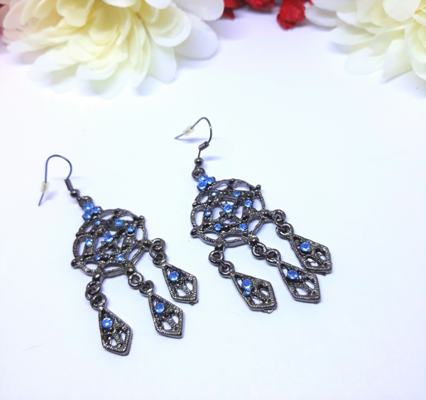 Vintage Dangle Antique Silver and Blue Rhinestone Earrings - Cleopatra Style