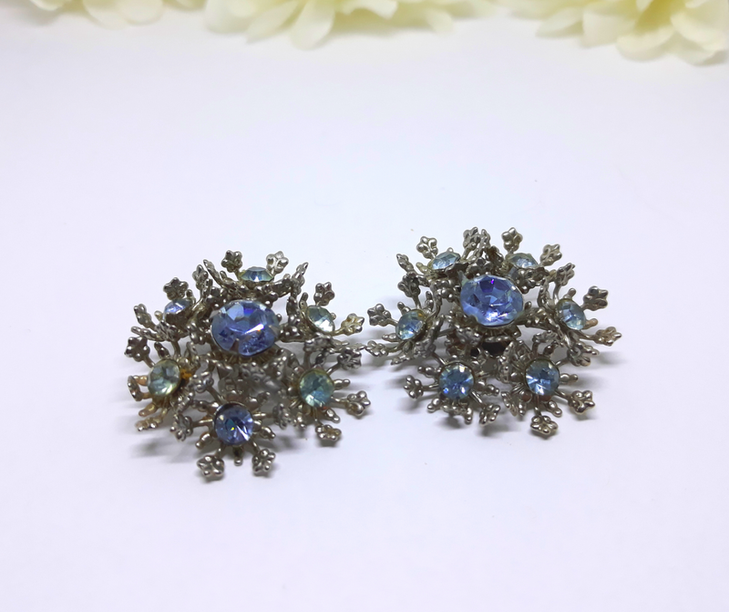 Blue Rhinestone and Silver Clip-on Earrings - Snowflake/Starburst