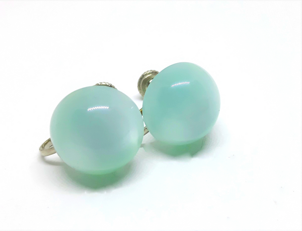 Gorgeous Light Blue - Teal Thermoset Button Earrings - Screwbacks - 1950s