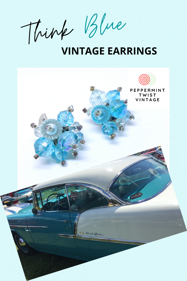 Ocean Blue Made in Hong Kong Cluster Earrings - 1950s