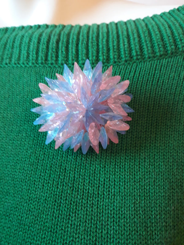 1960's Lucite Brooch or Pin, Turquoise and Pink Stunning - in Mint Condition