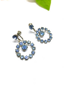 Vintage Dangle Light Ice Blue Rhinestone Clip-on Earrings, Round, Stunning 1950s/60s