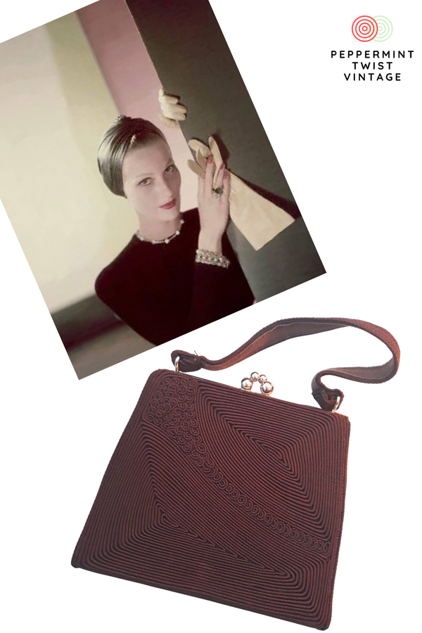 Adorable 1940s Brown Corde Handbag - Purse