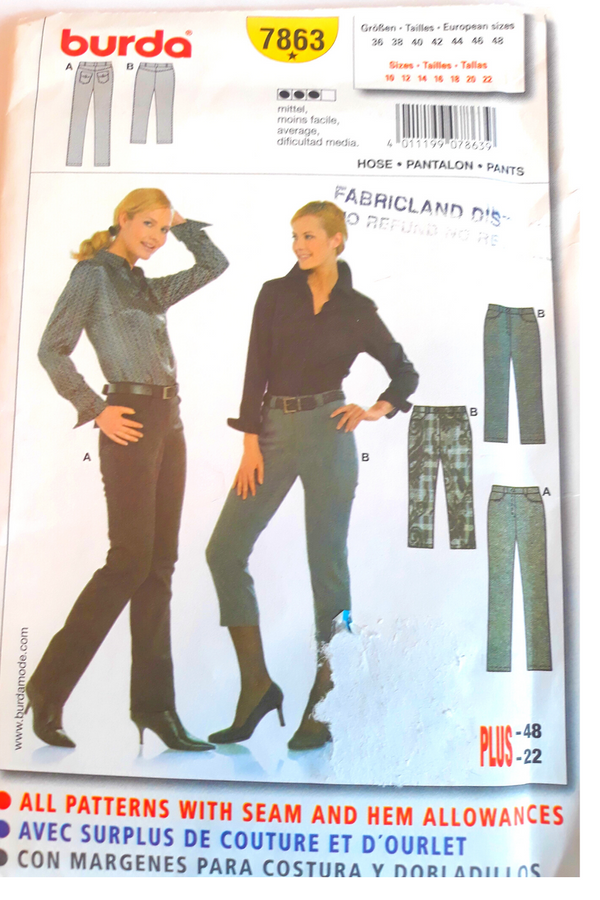 Burda 7863 Ladies Jeans/Pants Sewing Pattern - Size 10-22 or 36-48 European (Regular - Plus Size)