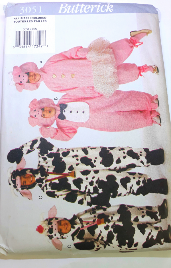 Butterick 3051 Kid's Halloween Sewing Pattern - Cow and Pig, Partially Cut