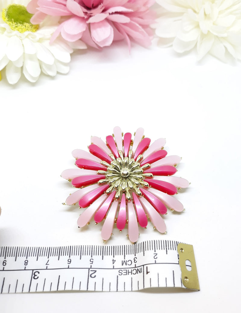 1960s LARGE, Killer Diller, Coro signed Light and Hot Pink Flower Brooch