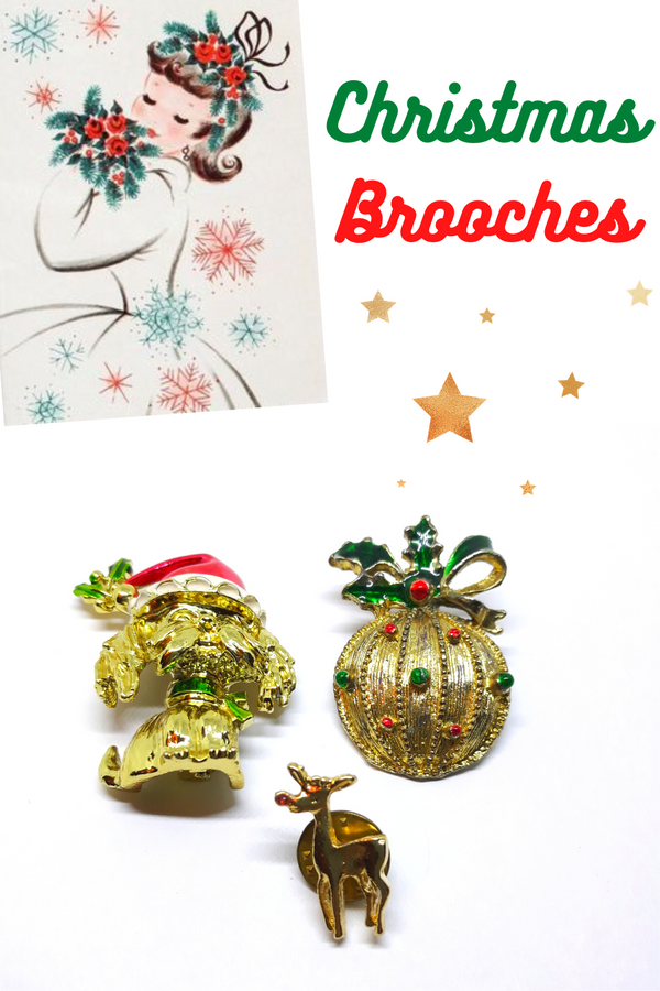 Christmas Brooch Lot - Dog, Rudolph Pin and Ornament Brooch