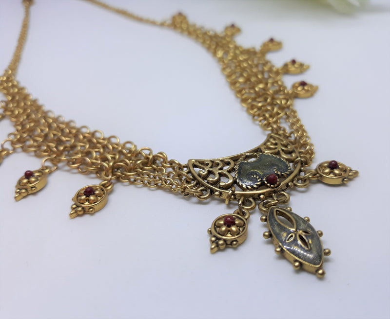 Cleopatra Style Necklace - Goldtone with Red and Gold Beads
