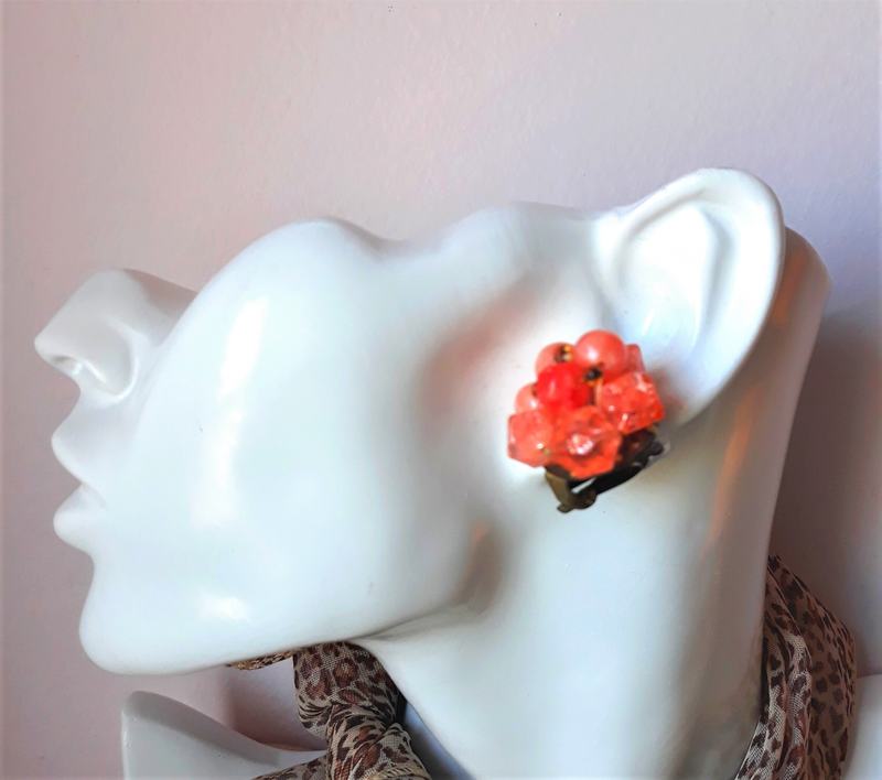 Coral Stone Cluster Earrings from the 1950s - Made in Hong Kong