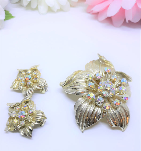 Coro Demi Parure Brooch and Earrings - Aurora Borealis