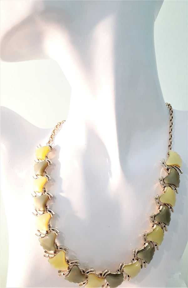 Coro Moonbeam Green Thermoset Necklace, 1960s