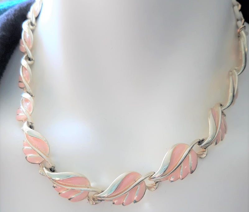 GORGEOUS, CORO signed Pink and Gold LEAF Enamel and Lucite Necklace, Early 50s