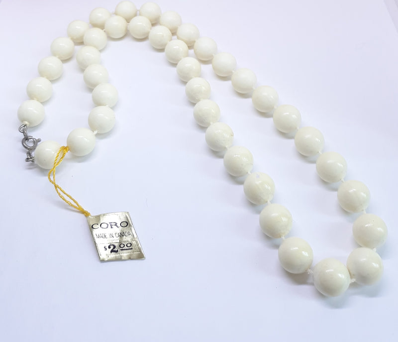 1960s CORO Deadstock White, Beaded Necklace, (Newer Worn, with tags)