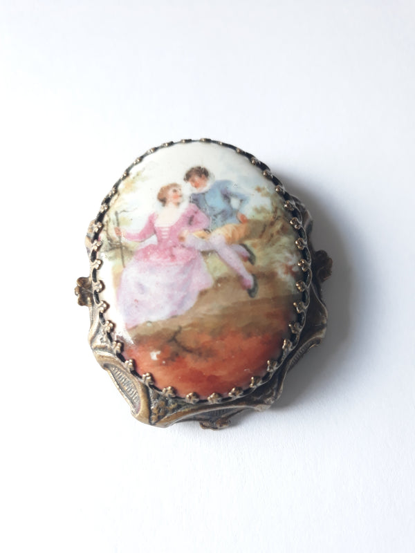 Edwardian Romantic Couple Porcelain Portrait Brass Dress Clip - Very old, Rare, Gorgeous