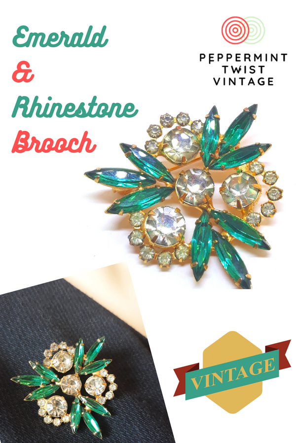 Emerald and Rhinestone Brooch - 1950s-60s