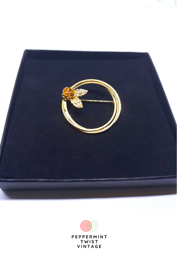 Gorgeous, Gold Infinity Ring Brooch with a Floral Pattern - Great Gift To Express LOVE