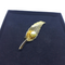 Gorgeous, Vintage Gold Leaf Brooch with Pearl Center