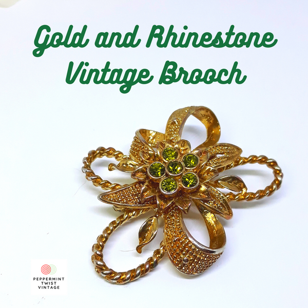 Vintage Gold Tone Brooch with Silver and Green Rhinestone