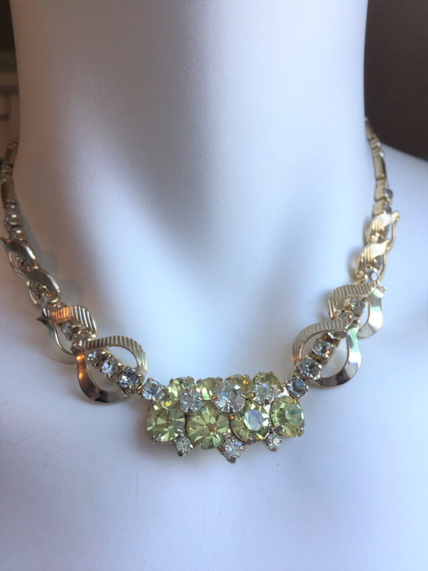 Stunning Sarah Coventry Necklace and Earring Set in Smokey Green