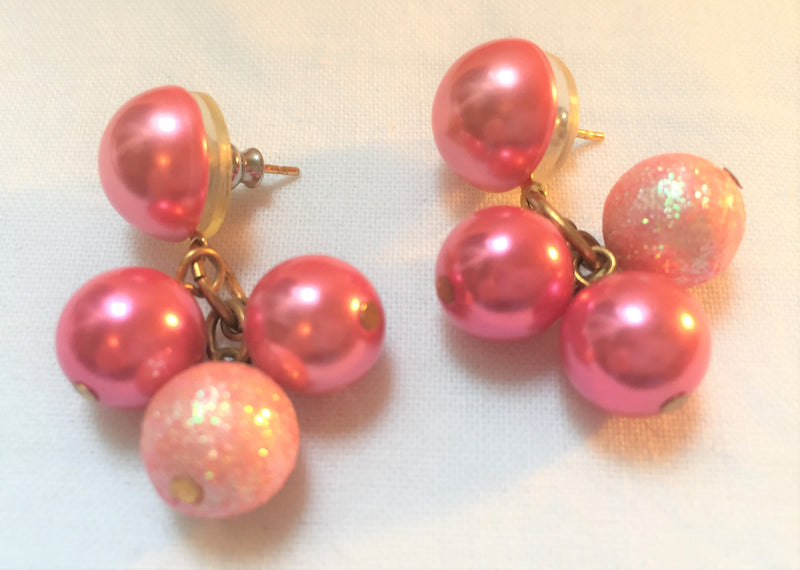 Stunning, Pink Dangle Pierced Earrings - Festive, Shades of Pink, Sparkly
