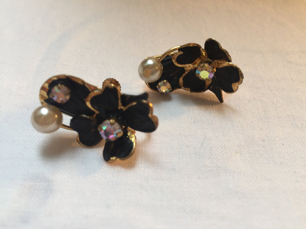 Black, Gold, Rhinestone and Pearl Floral Earrings, 1950-60s