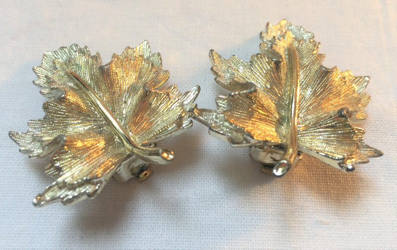 Sarah Coventry, Signed, Patent Pending, Gold and Silver Leaf Earrings, Signed, Vintage 1960s Clip On