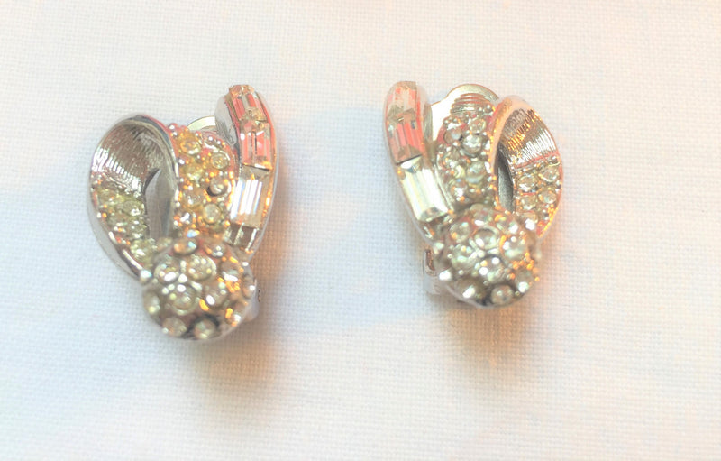 Vintage Rhinestone and Silver, Bow Clip-On Earrings