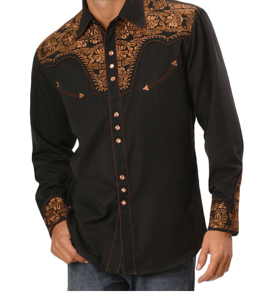 NEW - Scully Men's Copper Embroidered Gunfighter Shirt -- Size Medium, without TAG