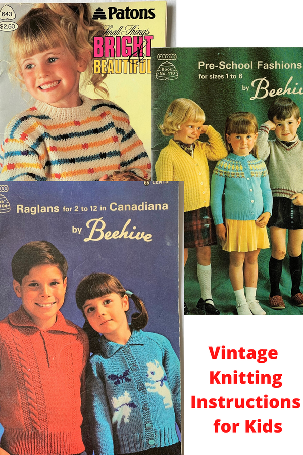 Vintage Knitting Instructions - Three Booklets for Children by BEEHIVE