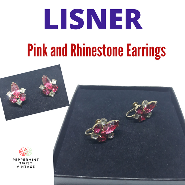 Lisner Signed, 1940/50s Pink and Rhinestone Floral Design