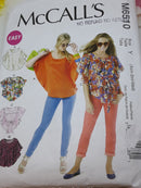 McCalls M6510 Butterfly Top, SEWING pattern - Size XSM-Medium, UNCUT