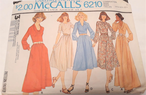 McCall Uncut Dress Sewing Pattern - 1978 L - XL A-Line, Maxi and more!