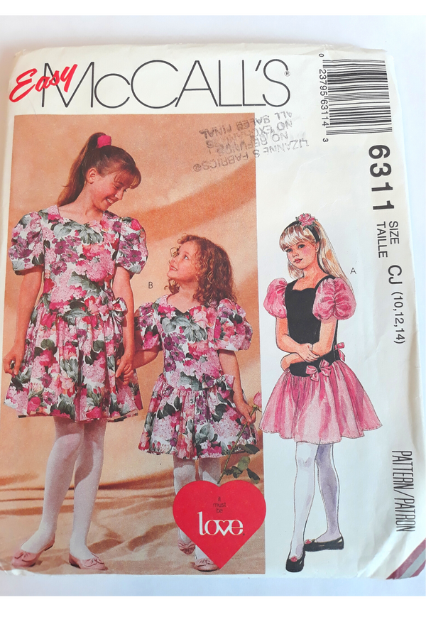 McCall 6311 Girl's Dress Size 10, 12, 14, Uncut