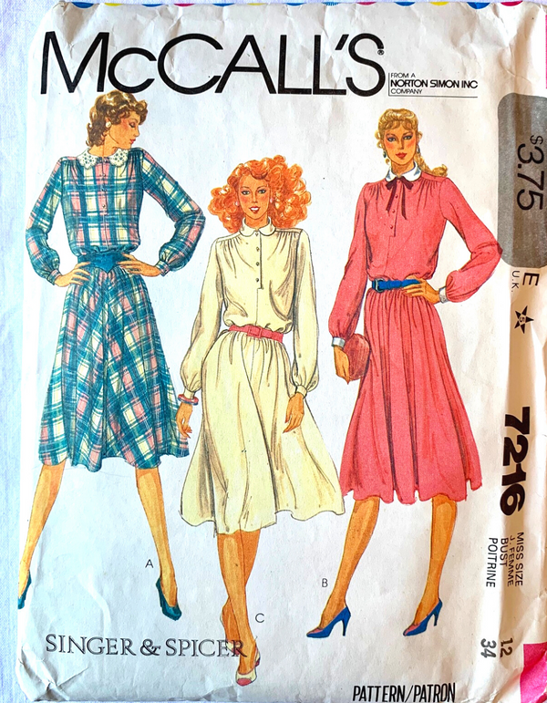 McCall 7216 Sewing Pattern, Size 12 - Make Woman's Dress Uncut