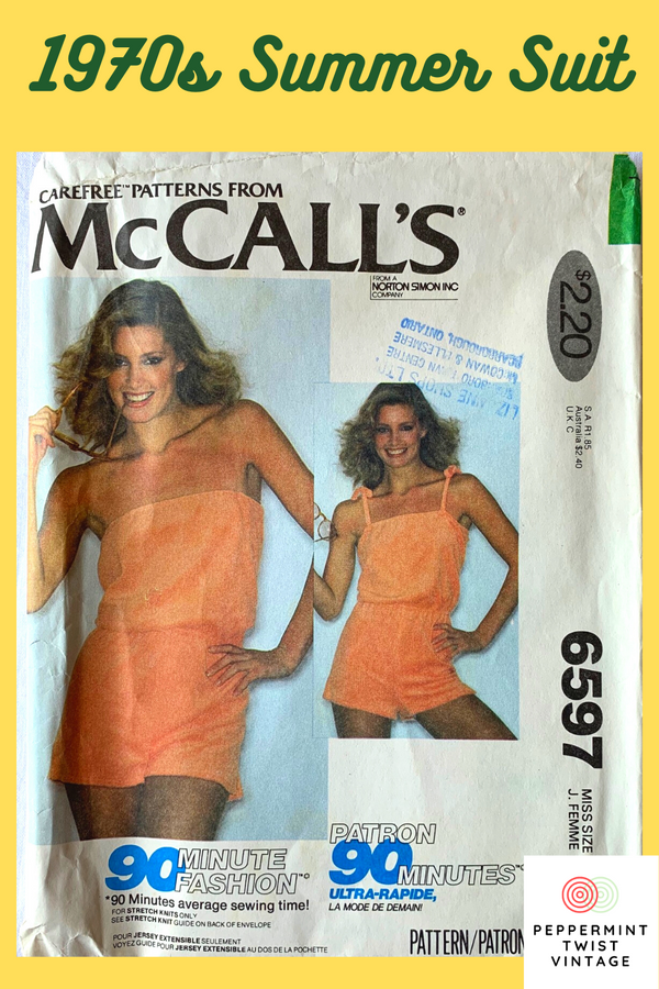 McCall's #6597, 90 Minute Fashion - Summer One Piece, Uncut, 1970s Playsuit, Size Medium