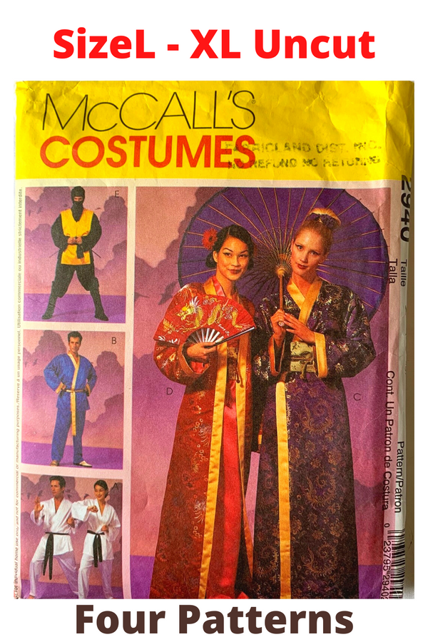 McCall Uncut Size L/XL Pattern - Asian Kimono, or Karate Outfits Unisex