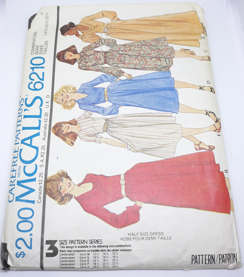 McCall 6210 Uncut Dress Sewing Pattern - 1978 L - XL A-Line, Maxi and more!