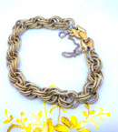 Monet Signed, Gold Tone, Double Rope Bracelet with Safety and Bucket Clasp