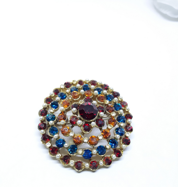 Vintage Multicolour Brooch - Pin, Stunning, Ready to Ship, 1960s-1970s, Pin-up