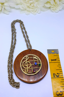 Gorgeous Large, Wooden Pendant with Music Notes and Rhinestones
