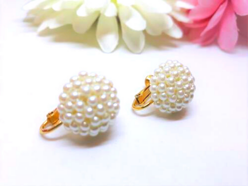 Napier Signed, Pearl Cluster Earrings - Screwbacks - In Mint Condition