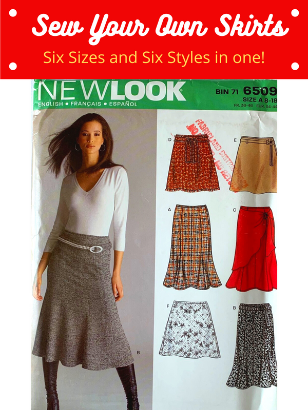 Sew Your Own Skirt - Six Different Patterns, Six Sizes - New Look 6409, Uncut Sewing Pattern