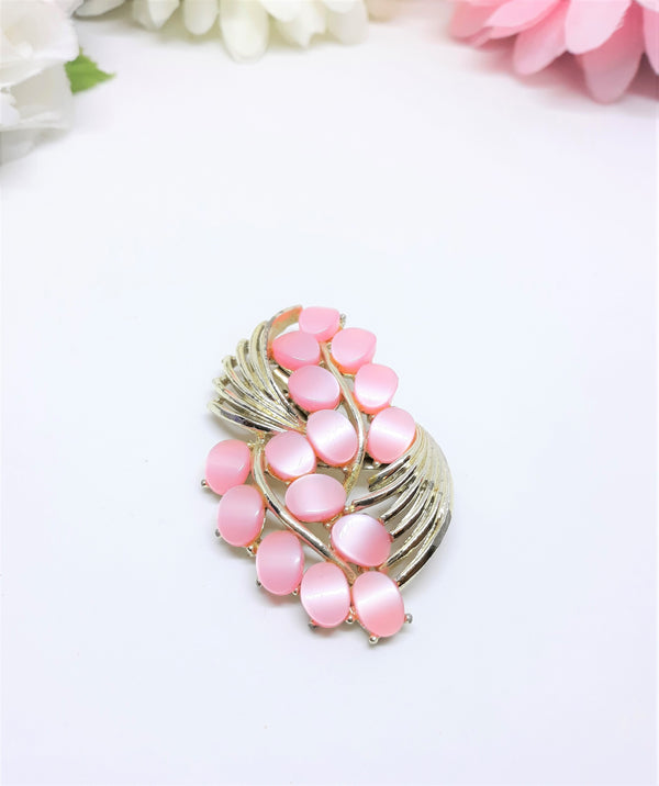 Pink Thermoset Leaf Brooch - Vintage, 1950s