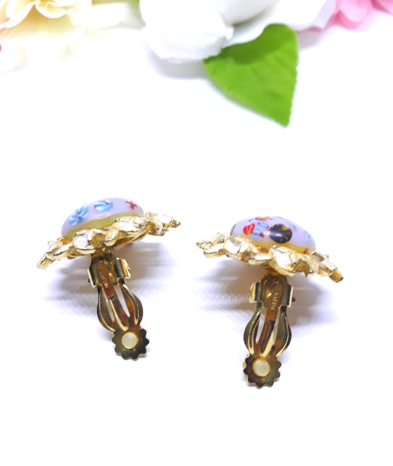 Vintage 1960s Clip-on Earrings - Stunning - Pat Pending (TRIFARI?), Rare,  Glass beads