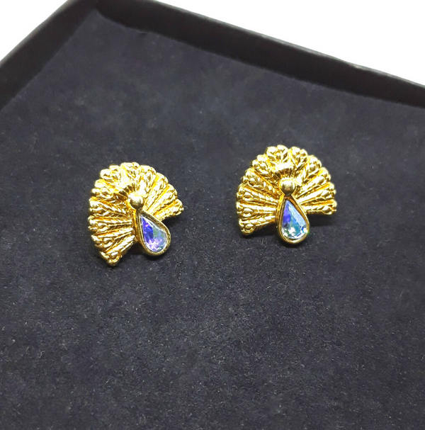 Gorgeous Peacock Earrings - Pierced, Novelty