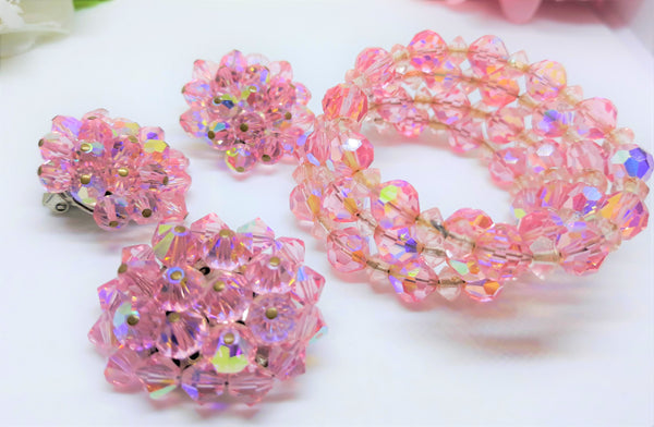 The Ultimate 1950s Pink Parure - Pink Crystal Aurora Borealis - Earrings, Brooch Bracelet