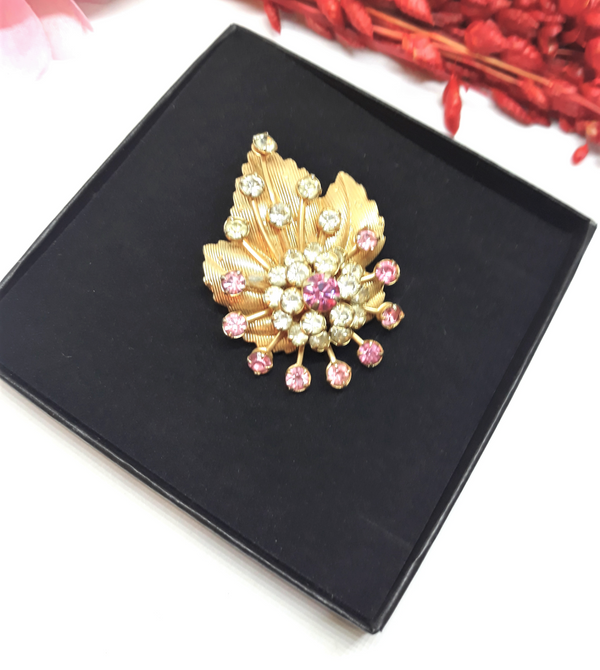 Pink and Rhinestone and Gold Accent Leaf and Teardrop Brooch -1950s